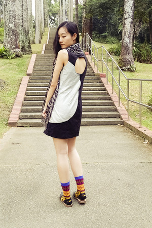 black silver cutout Hypnosis dress - gold warrior stance socks