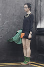 Black-h-m-divided-dress-green-raincoat-cape-calvin-klein-coat
