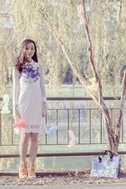 blue snupped bag - white Kae Hana dress - yellow rubber Converse sneakers