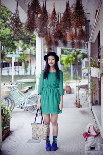 teal dog print Taobao socks - blue platform H&M shoes