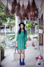 Blue-platform-h-m-shoes-green-chiffon-forever-21-dress-black-felt-taobao-hat