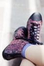 Deep-purple-splatter-print-cotton-on-dress-aquamarine-clutch-nica-bag