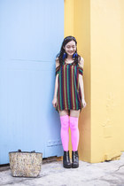 black platforms rubi boots - brick red striped Urban Outfitters dress