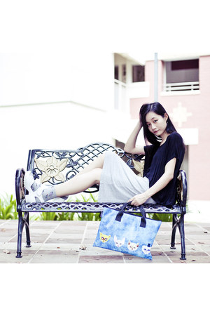 blue snupped bag - silver space print Taobao socks