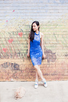blue lace DressLink dress - silver iridescent Zalora sneakers