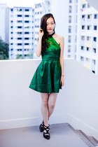 forest green green Dressin earrings - forest green backless CNdirect dress