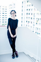 black tunic Mphosis dress - black black Forever 21 tights
