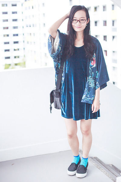 black platforms Spurr shoes - blue velvet cotton on dress