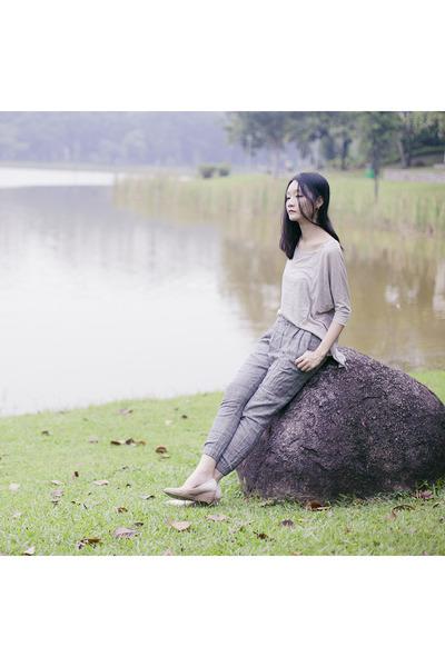 beige asymmetry plaid Zara pants - beige dolman sleeve Forever 21 top