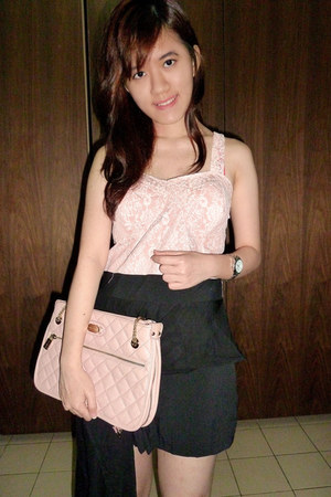 silver Guess watch - peach Charles & Keith bag - light pink keep it chic romper