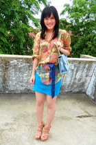 light blue purse - gold shirt - sky blue Forever 21 skirt