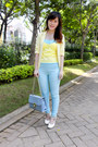 Yellow-gaudi-blazer-sky-blue-guess-purse-light-yellow-keep-it-chic-bodysuit