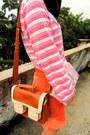 Bubble-gum-nine-west-heels-purple-colorful-beret-hat-bronze-retro-bag