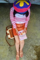 purple colorful beret hat - bronze retro bag - carrot orange skirt