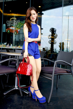 blue Charlotte Russe pumps - red Louis Vuitton bag - blue Mango romper