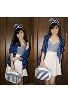 blue stripes Guess bag - beige flare keep it chic skirt - blue printed cardigan