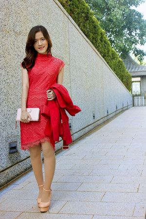 red Vila clothes coat - salmon zalora Indonesia dress