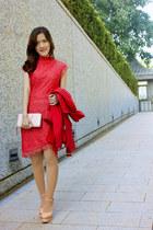 red Vila clothes coat - salmon zalora Indonesia dress