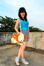 cream furry puppy Thrift Store bag - nude wedges hongkong boutique shoes