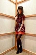 black polka dots blouse - black boots - red Zara shorts - black stockings