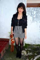 black giordano jacket - black velvet Zara boots - tawny bag