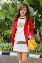 red coat - maroon boots - ivory sweater - light yellow Louis Vuitton bag