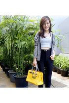 black leggings - heather gray blazer - yellow Louis Vuitton bag