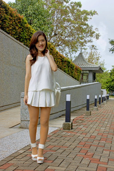white bag - white skirt - white heels - white top