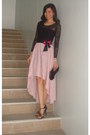 Black-sheer-lace-fashion-fruit-top-light-pink-hi-lo-mullet-fashion-fruit-skirt