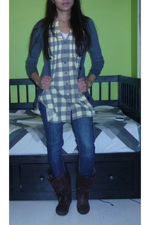 green Bluenotes top - gray cardigan - brown Spring boots