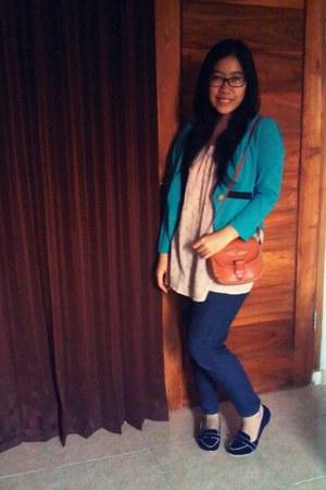tawny ethnic bag bag - navy MINE jeans - turquoise blue MINE blazer