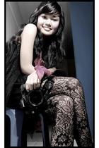 black top - black skirt - black stockings - pink accessories - camera