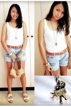 white Topshop top - orange sm department store belt - blue shorts - beige shoes 
