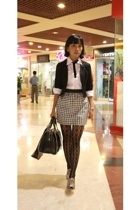 H&M blazer - Zara purse - PedderRed shoes - deliascom stockings