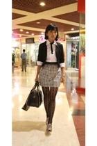 H&M blazer - Zara purse - PedderRed shoes - deliascom stockings