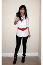 White-random-fron-hong-kong-shirt-black-express-leggings-red-vintage-belt-