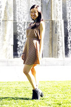 light brown dress - black H&M boots - black Style Sofia accessories