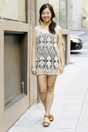 42076ef5 beige crochet thrifted dress - brown Zara shoes - amethyst thrifted ring