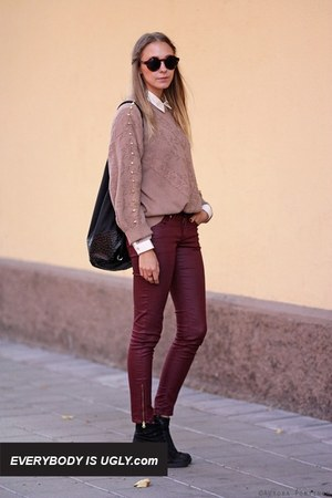brick red pants