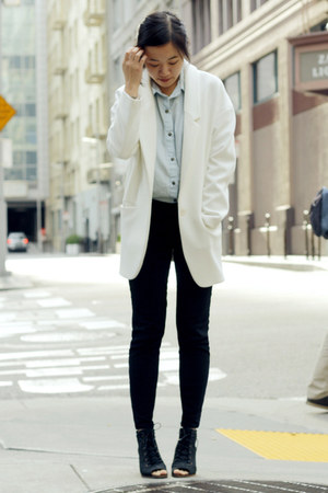white Zara blazer - black Hudson boots - light blue denim Style Sofia top