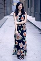 black vintage Zara wedges - orange dress - brown Urban Outfitters belt