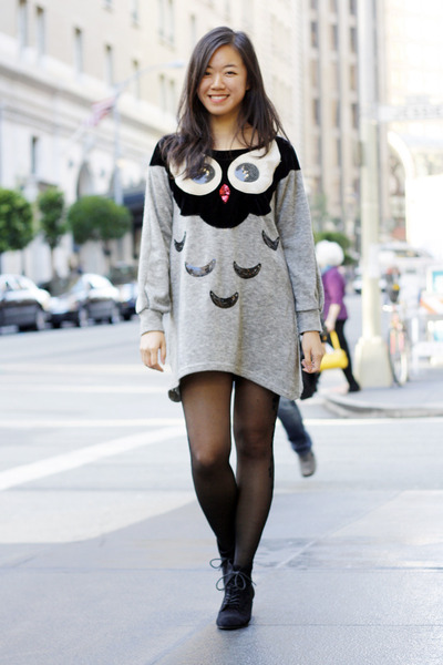 heather gray vintage sweater - black Urban Outfitters tights - black Zara wedges