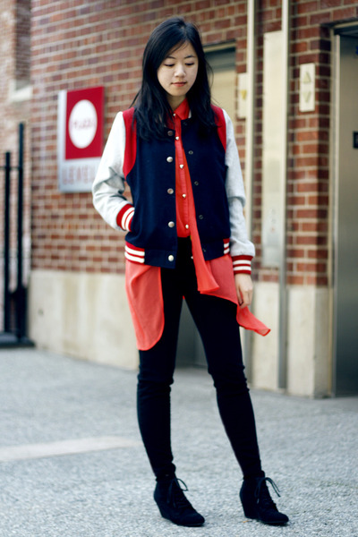 navy jacket - carrot orange asos top - black pants - black Zara wedges