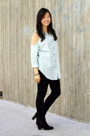 black asos boots - black Levis jeans - light blue StyleSofia top