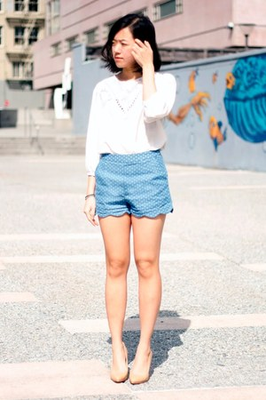 scalloped Pynk Nylon shorts - THE WHITEPEPPER blouse - transparent Choies wedges