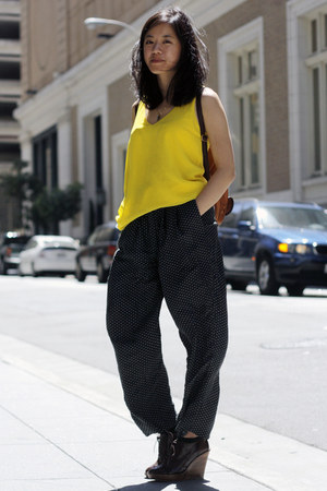 navy Limited pants - bronze Style Sofia bag - dark brown Zara wedges