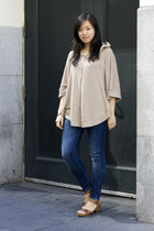 blue Zara jeans - dark gray Forever 21 top - beige Forever 21 hoodie