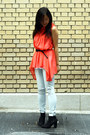 coral asos top - black asos boots - light blue Zara jeans