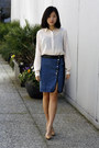 cream Uniqlo blouse - blue denim PYNKNYLON skirt