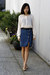 Cream-uniqlo-blouse-blue-denim-pynknylon-skirt